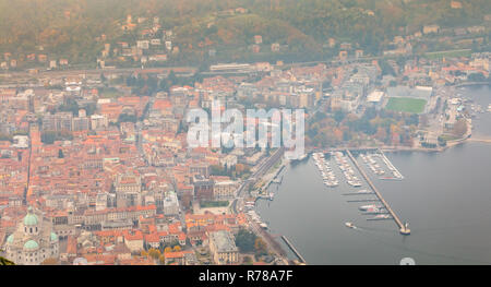aerial view of the Como marina in Italy - Stock Photo