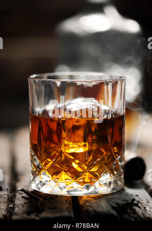 One glass of whiskey - Stock Photo