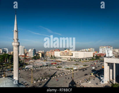 skanderberg main square and mosque in central tirana city albania - Stock Photo