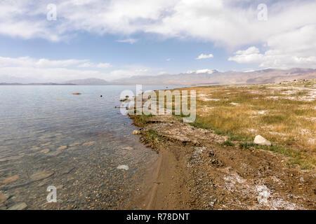 Karakul Lake in the Pamir Mountains in Tajikistan - Stock Photo