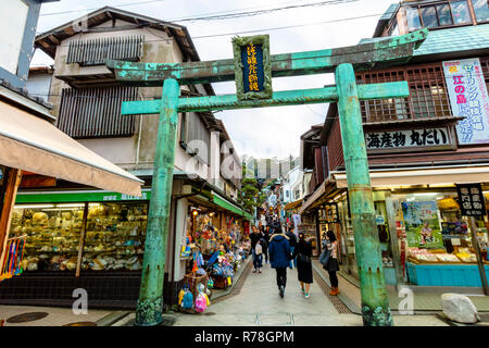 Kamakura, Kanagawa / Japan - December 3 2018: Enoshima shopping street leading to Enoshima Shrine - Stock Photo