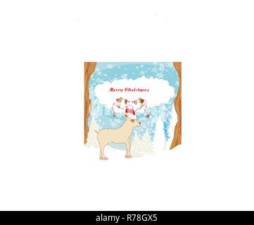 Abstract Christmas card with reindeer and birds - Stock Photo