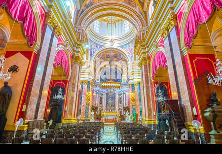 MDINA, MALTA - JUNE 14, 2018: The beautiful interior of Saint Paul Cathedral in Mdina fortress, on June 14 in Mdina. - Stock Photo