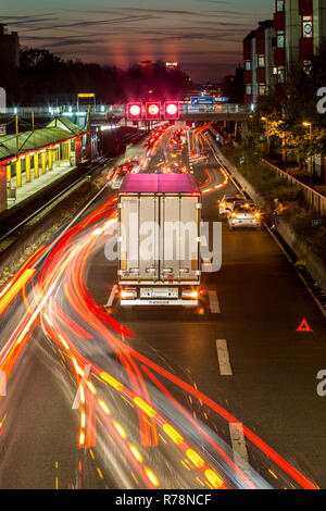 Collision on the A40, Ruhrschnellweg, truck blocking the center lane, city limits, Essen, North Rhine-Westphalia, Germany - Stock Photo