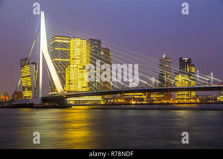 Skyline on the Nieuwe Maas river, Erasmus Bridge and skyscrapers in the Kop van Zuid quarter, Rotterdam, Holland - Stock Photo