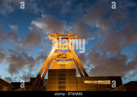 UNESCO World Heritage site Zeche Zollverein, double winding tower, shaft 12, Essen, North Rhine-Westphalia, Germany - Stock Photo