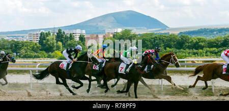 PYATIGORSK, RUSSIA - JULY 22, 2018:Horse racing for the prize of Letni on the Pyatigorsk hippodrome,Northern Caucasus,Russia. - Stock Photo