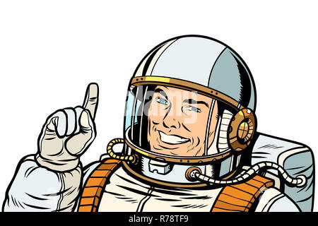 male astronaut pointing up, isolate on white background - Stock Photo