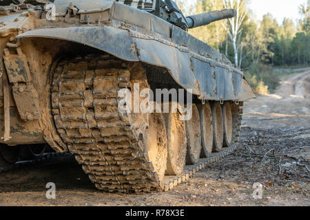 Military tank track,close up view. Military concept. Tank on exercises. - Stock Photo