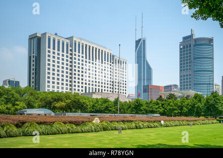 facade view of shanghai city hall in china - Stock Photo