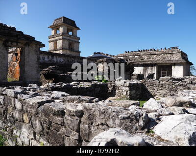 Ruins of the palace at ancient Mayan city of Palenque in Mexico - Stock Photo
