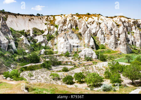 rural scenery with cave churches near Goreme - Stock Photo