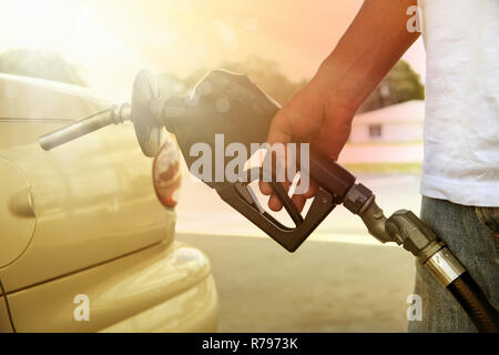 gas pump in the hand - Stock Photo