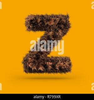 Uppercase fluffy and furry font made of fur texture for poster printing, branding, advertising. Letter Z. 3D rendering - Stock Photo