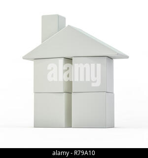 Toy plastic house model on white. 3D rendering - Stock Photo
