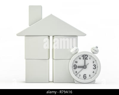 Toy plastic house model on white. 3D rendering - Stock Photo