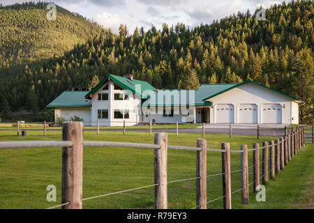 Luxury sprawling house on a ranch in Montana, USA - Stock Photo