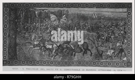 Defeat of French cavalry, imperial infantries capture enemy artilleries - Stock Photo