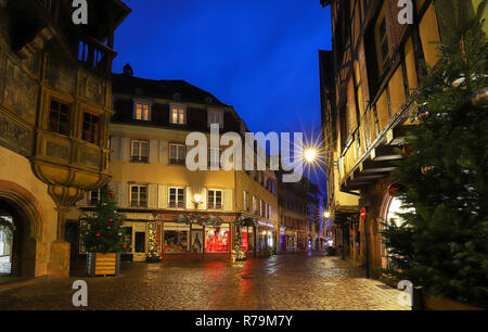 The Colmar street decorated for Christmas, Alsace, France. - Stock Photo