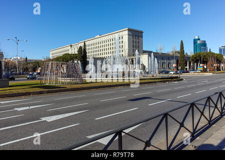 MADRID, SPAIN - JANUARY 21, 2018:  Building of Ministry of Employment and Social Security in City of Madrid, Spain - Stock Photo