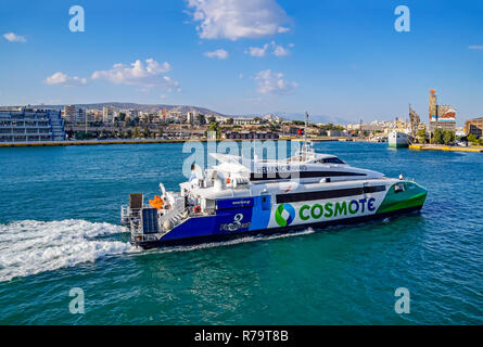 Hellenic Seaways Flying Cat 3 fast passenger ferry in port of Piraeus Athens Greece Europe - Stock Photo