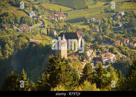 Aerial view of Tyrol Castle in Tirolo, South Tyrol, Italy. Tyrol Castle is home to the South Tyrolean Museum of Culture and Provincial History - Stock Photo
