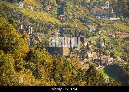 Aerial view of Tyrol Castle in Tirol, South Tyrol, Italy. Tyrol Castle is home to the South Tyrolean Museum of Culture and Provincial History - Stock Photo