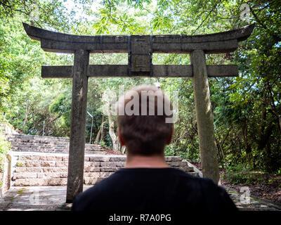 Torii near Go'o Shrine, Naoshima Island, Kagawa Prefecture, Japan. - Stock Photo