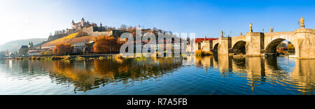 Beautiful Wurzburg town,view with old bridge and medieval castle,Bavaria,Germany.