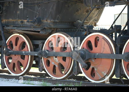 Red wheel locomotive closeup - Stock Photo