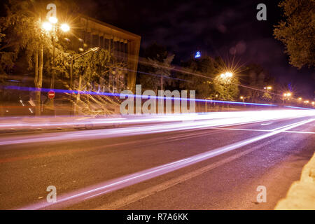 Panoramic view of Baku. Night routes in Baku. Multi-level road junction with heavy car traffic. Bright Baku nights . - Stock Photo
