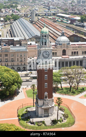 Torre Monumental (Torre de los Ingleses - English tower) and Retiro railway station, Buenos Aires, Argentina - Stock Photo