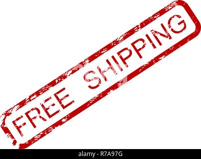 Free shipping rubber stamp isolated on white. Home delivery services, worldwide shipping free, vector illustration - Stock Photo