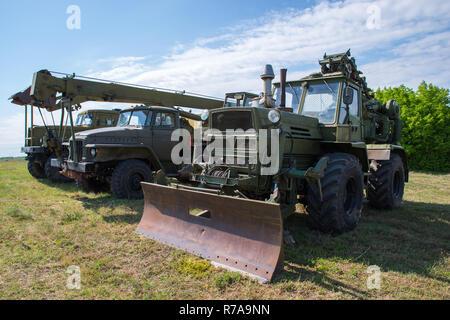 Armored bulldozer. Ancient military engineering. - Stock Photo