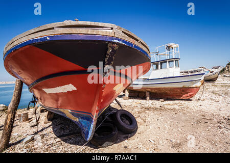 Old Fishing Boat Abandoned on the Shore - Stock Photo