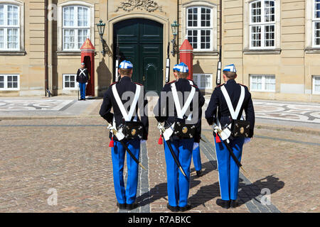 The change of the guard by the Royal Life Guards to the Danish monarchy at Amalienborg Palace in Copenhagen, Denmark - Stock Photo