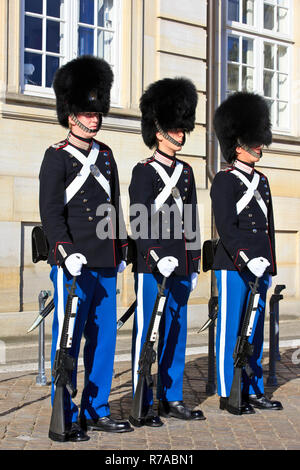 The Royal Life Guards to the Danish monarchy with bearskin caps at attention at Amalienborg Palace in Copenhagen, Denmark - Stock Photo