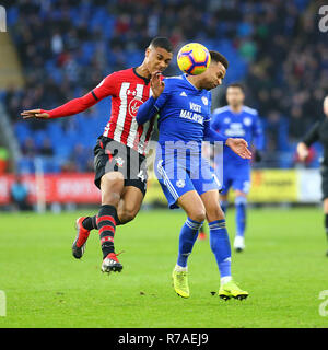 Yan Valery of Southampton and Josh Murphy of Cardiff City during the Premier League match between Cardiff City and Southampton at the Cardiff City Stadium, Cardiff, Wales on 8 December 2018. Photo by Dave Peters.  Editorial use only, license required for commercial use. No use in betting, games or a single club/league/player publications. - Stock Photo