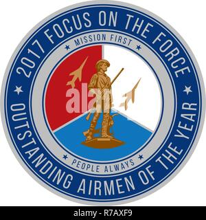Official seal for the Air National Guard's 2017 Focus on the Force Week, a week-long event celebrating the contributions and excellence of the ANG enlisted corps. - Stock Photo