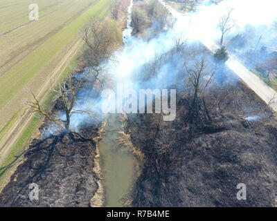 Burning dry grass along the irrigation canal. Smoke and the flame of dry grass. Burnt dry grass. - Stock Photo