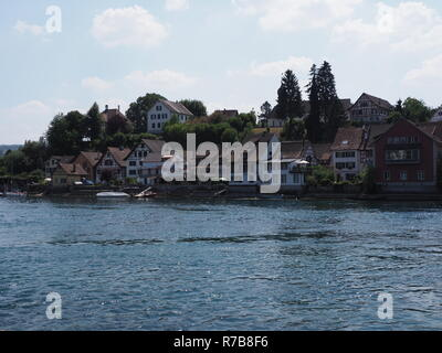 Beautiful Rhine River landscape in european STEIN am RHEIN town in SWITZERLAND in swiss canton of Schaffhausen - Stock Photo