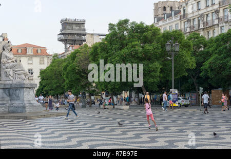 LISBON, PORTUGAL - August 30, 2018: Rossio Square. The terrace and walkway of the Santa Justa Lift, with the upper level kiosk and Convent of Our Lady - Stock Photo