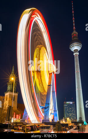 Berlin, Germany - December 7, 2017: Christmas market on Alexanderplatz in Berlin, Germany - Stock Photo