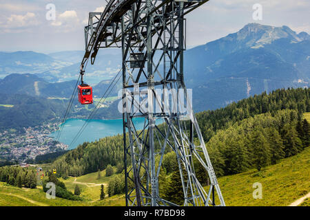 Cable car on the Zwölferhorn Mountain with view towards Wolfgangsee, St Gilgen, Austria - Stock Photo