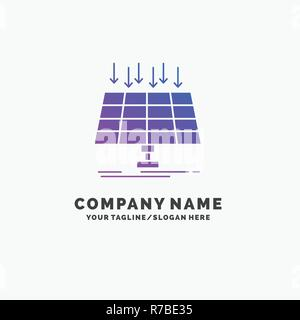 Solar, Panel, Energy, technology, smart city Purple Business Logo Template. Place for Tagline. - Stock Photo