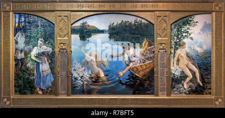 The Aino Myth triptych by Akseli Gallen-Kallela (1865-1931), oil on canvas, 1891. The painting, depicting Väinämöinen and Aino, is a story from the Finnish work of epic poetry, the Kalevala. - Stock Photo