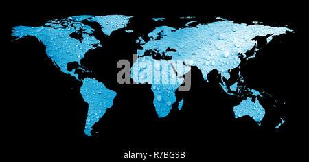 worldmap and water drops - Stock Photo