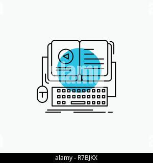 book, ebook, interactive, mobile, video Line Icon - Stock Photo