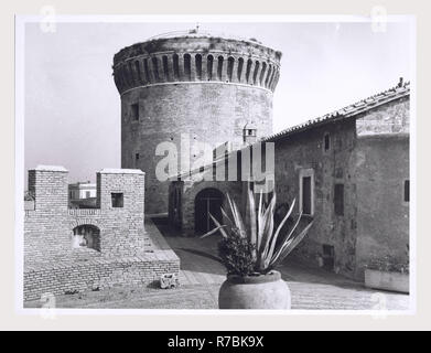 Lazio Roma Ostia Antica Castle, this is my Italy, the italian country of visual history, Exterior views with emphasis on turretted towers views of courtyard, portals and terrace. - Stock Photo