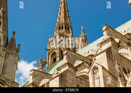 Cathedral of Our Lady of Chartres (Cathédrale Notre-Dame de Chartres) - France. - Stock Photo